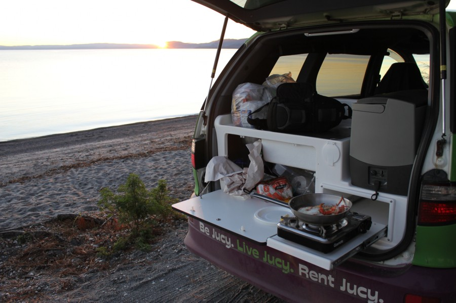 Cooking dinner with a Lake Taupo Sunset
