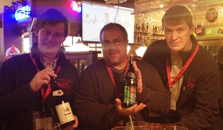 Me with the brewers from Brasserie de Silly at Ashley's Belgian Beer Festival